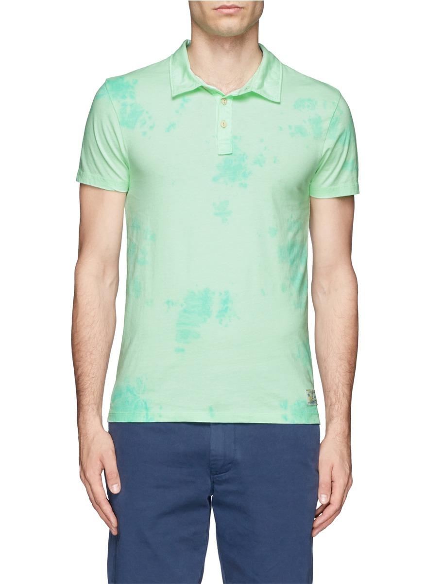Lyst Scotch Soda Tie Dye Polo Shirt In Green For Men