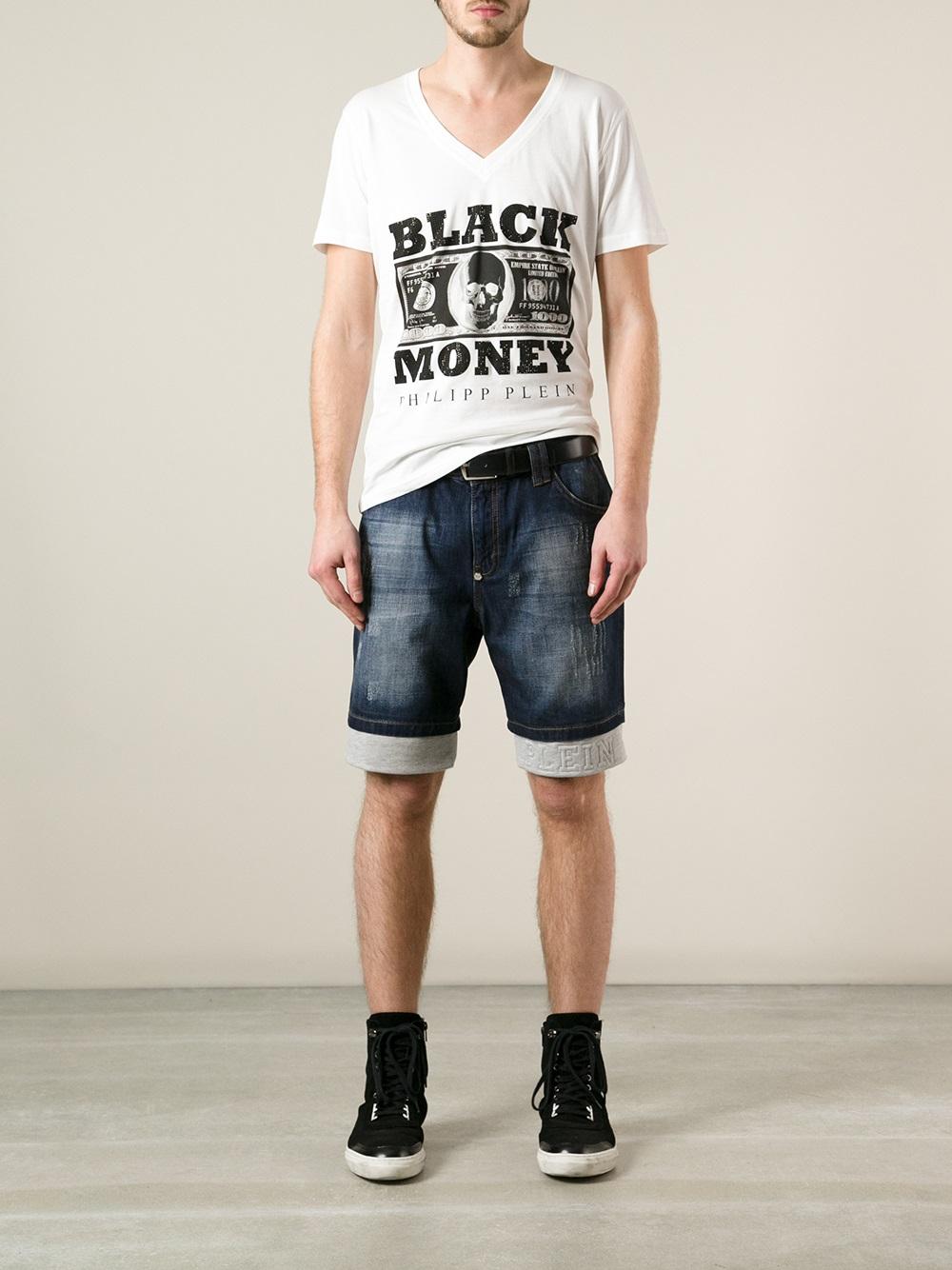 lyst philipp plein black money t shirt in white for men. Black Bedroom Furniture Sets. Home Design Ideas