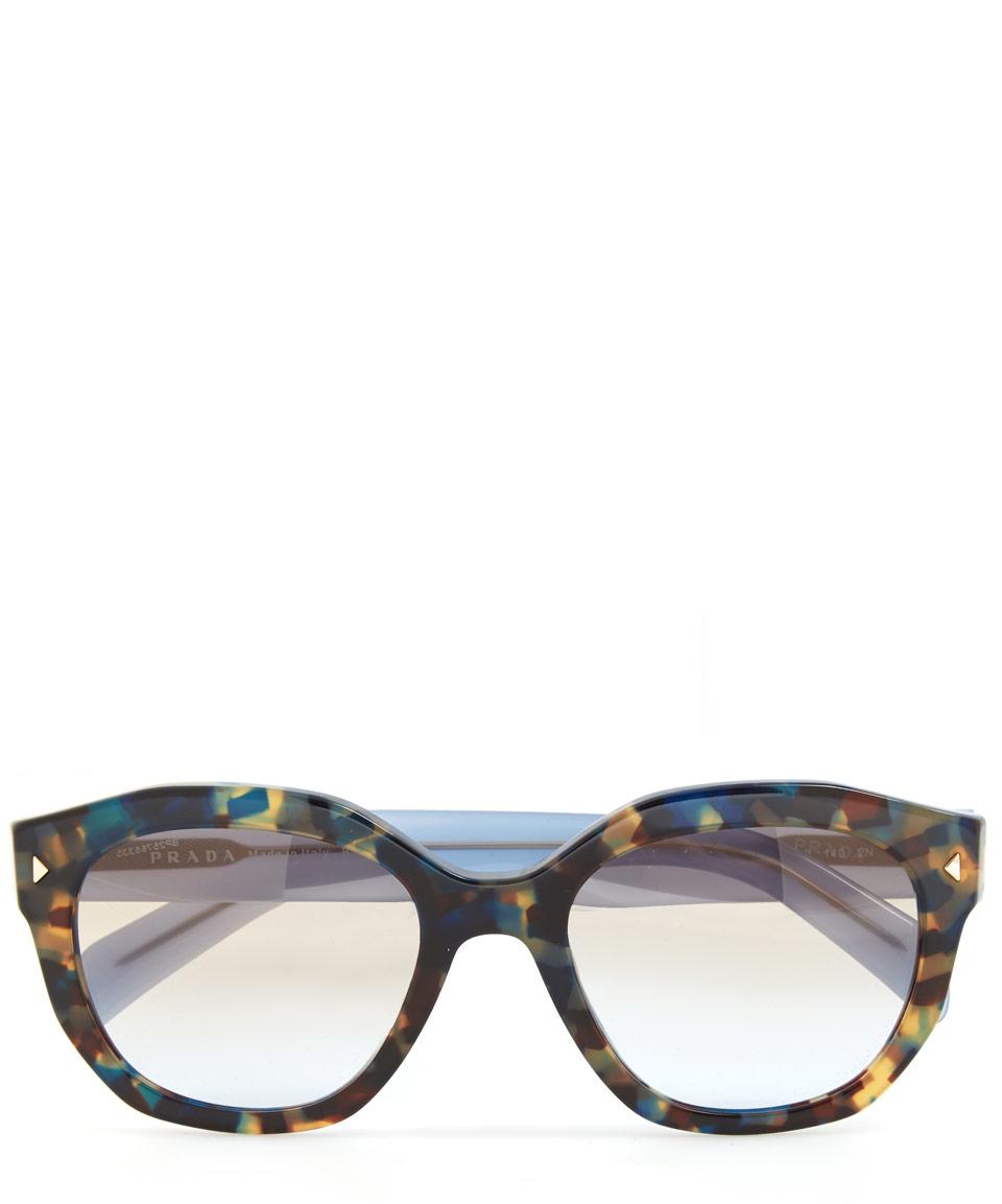 077535bee61b ... cheapest lyst prada multicolour tortoiseshell angular sunglasses 05690  c0399