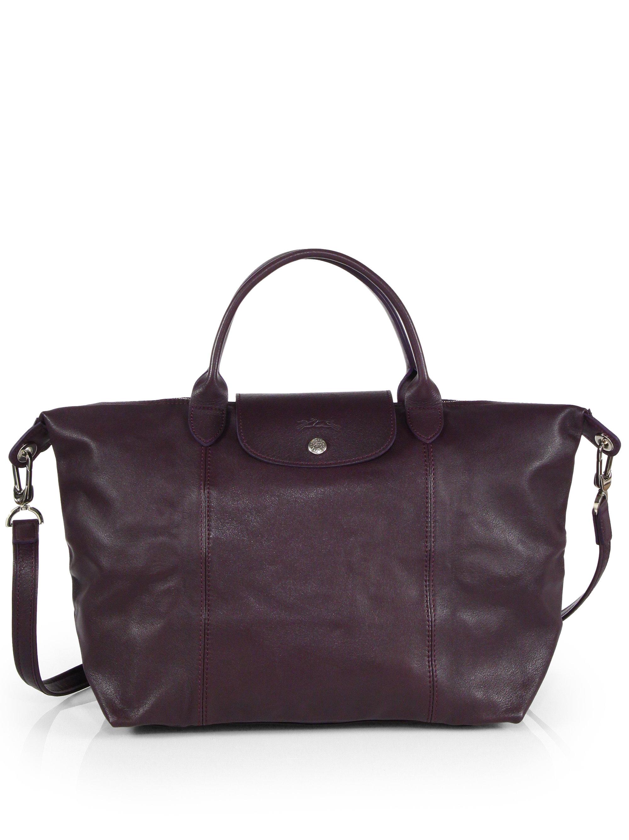 Lyst Longchamp Le Pliage Cuir Medium Top Handle Bag In