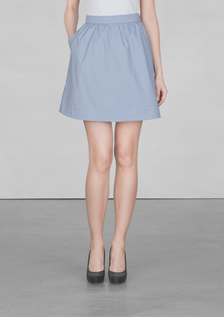 other stories a line cotton skirt in blue lyst
