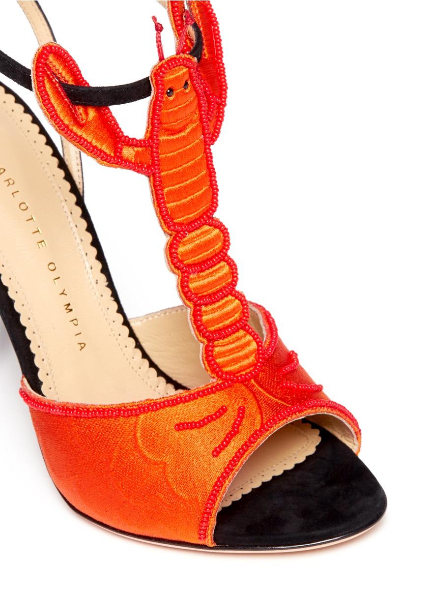 05cf4fee7351a Lyst - Charlotte Olympia Elsa Beaded Lobster Sandals in Orange