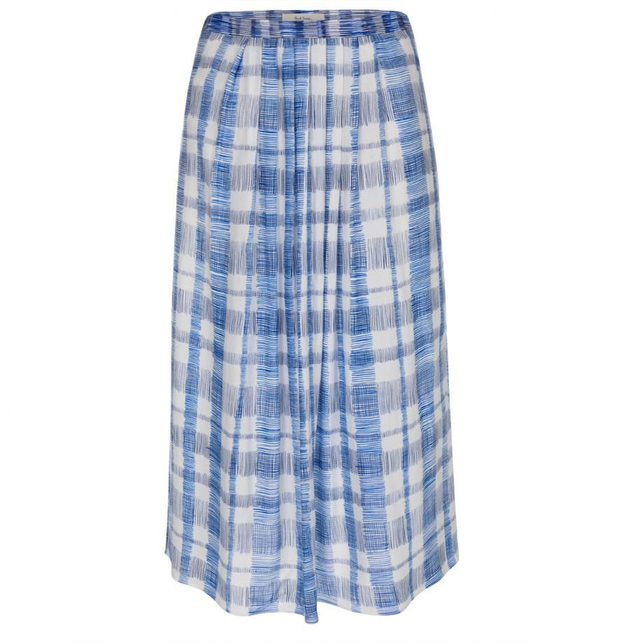 Paul smith Womenu0026#39;s White And Blue u0026#39;scribble Checku0026#39; Skirt in Blue | Lyst