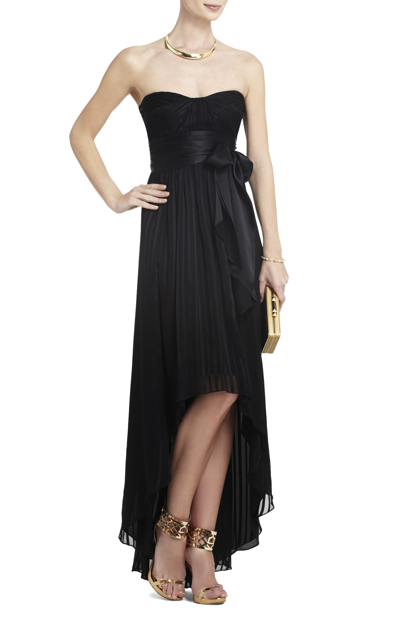 Bcbgmaxazria Alicia Silk Charmeuse Sash Gown In Black Lyst