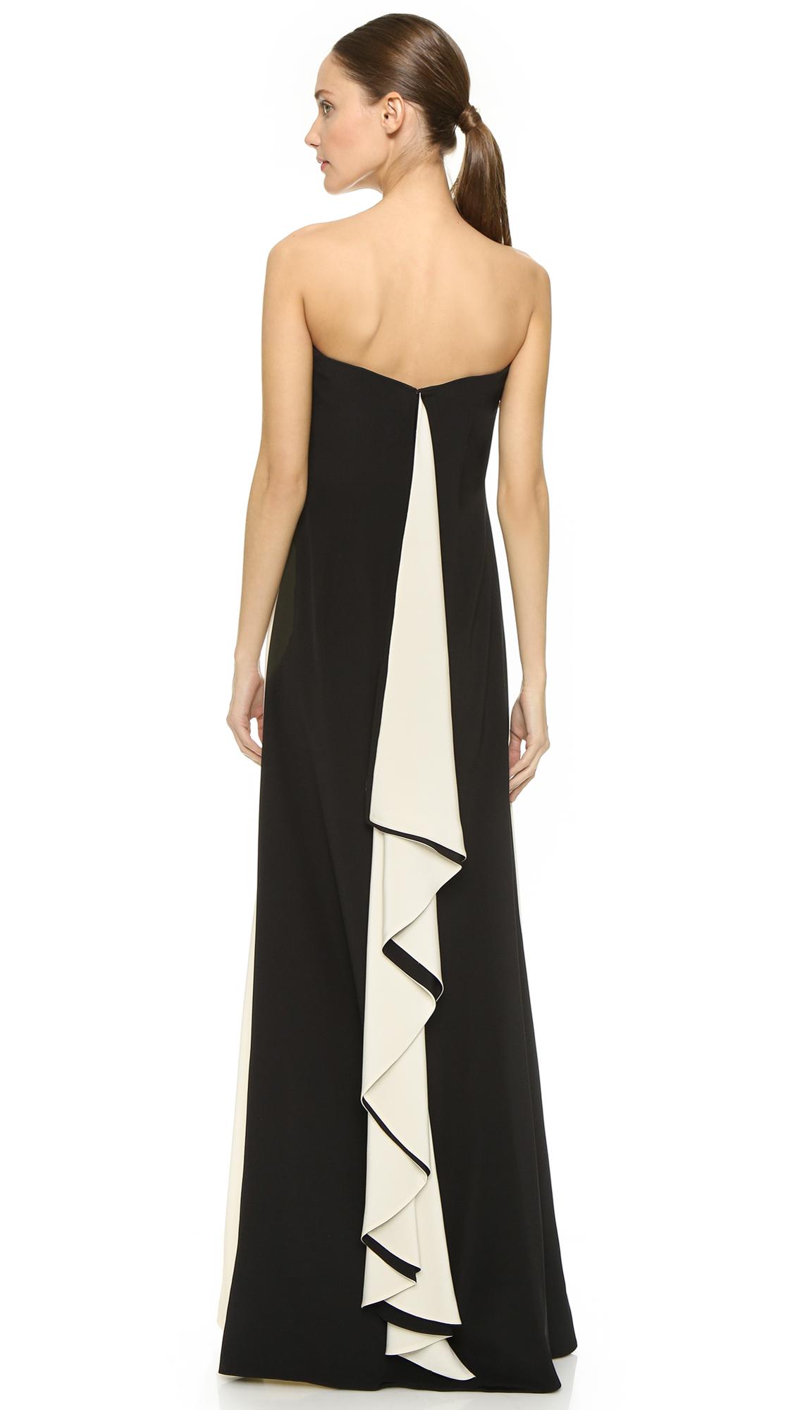 Lyst - Prabal Gurung Strapless Gown - Black/ivory in Black