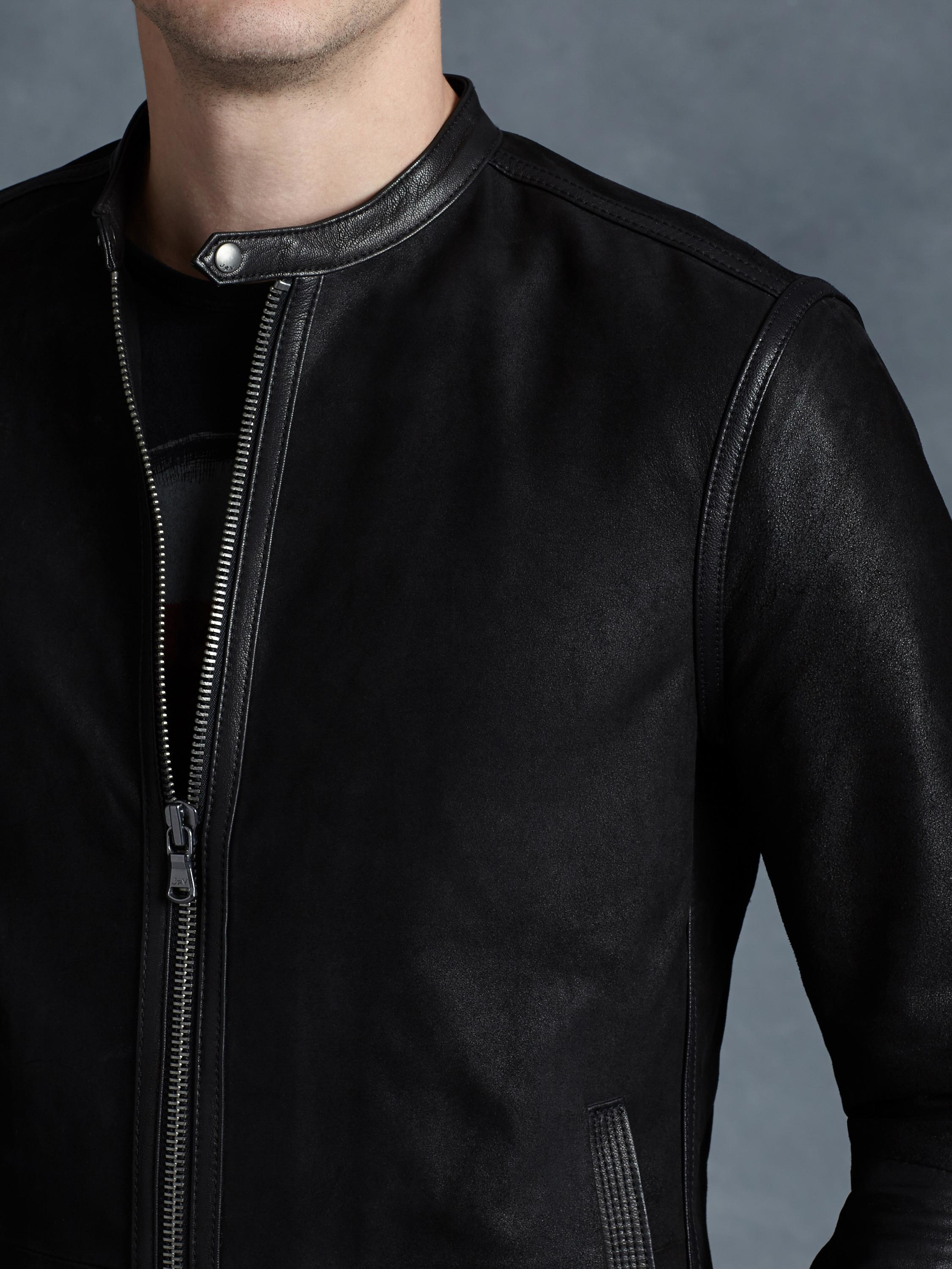 john varvatos leather racer jacket in black for men | lyst