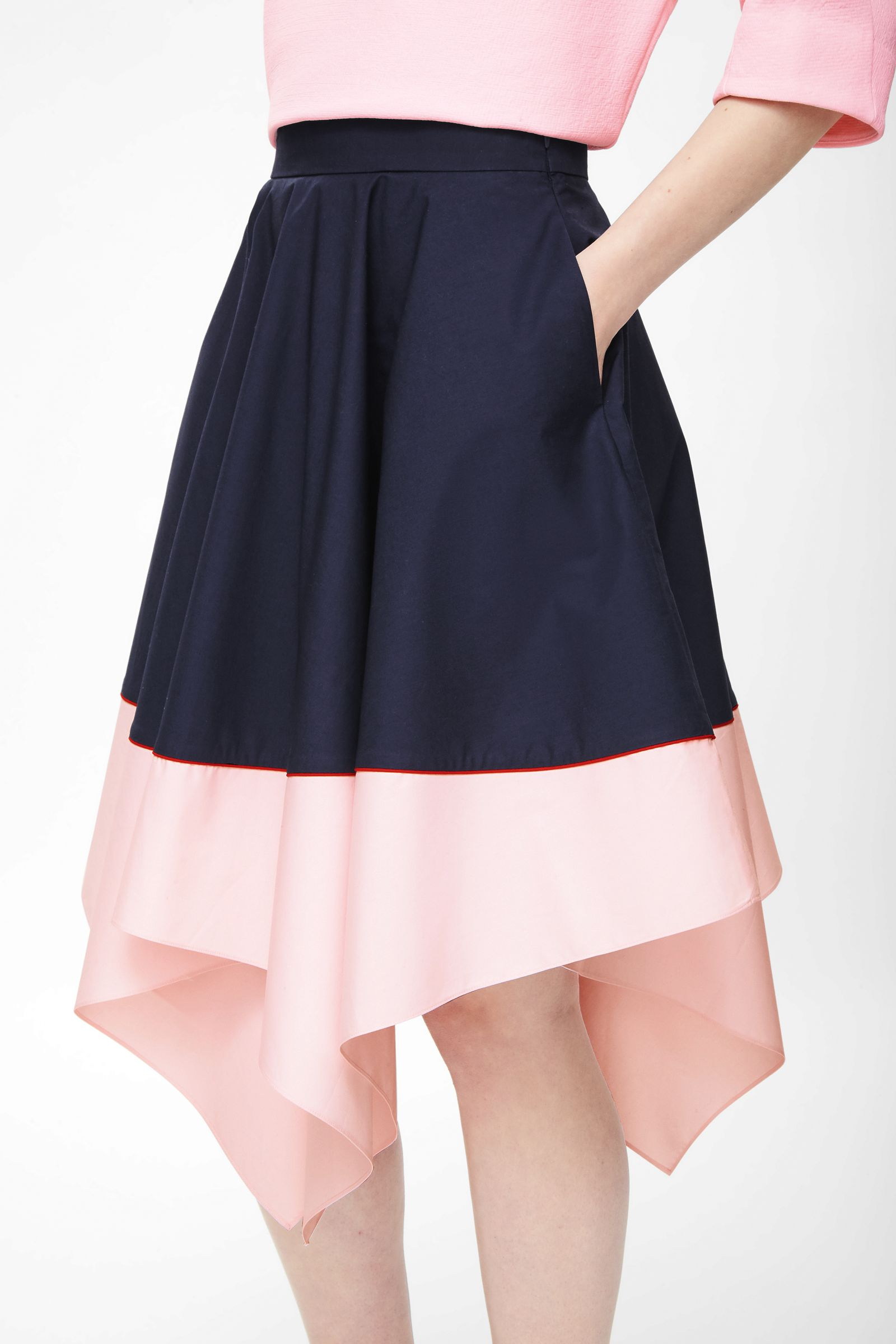 cos contrast asymmetric skirt in blue navy lyst
