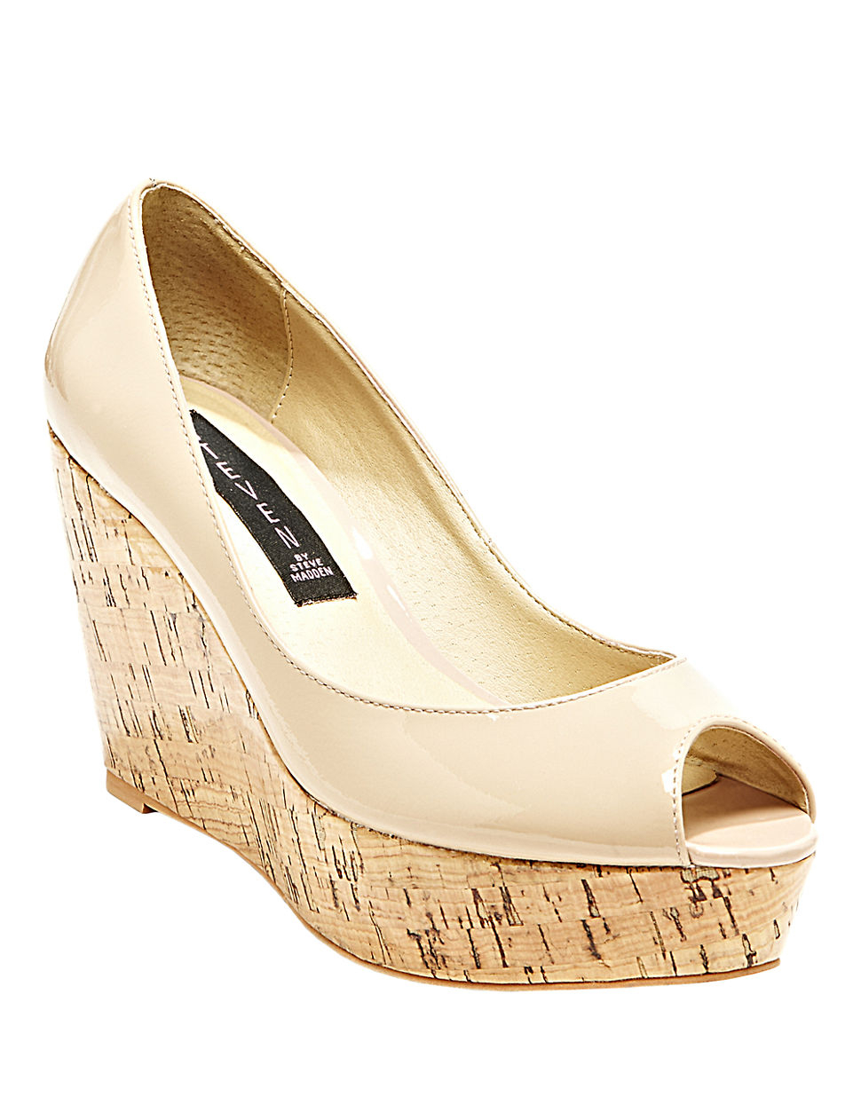 aa182ad0417 Lyst - Steven By Steve Madden Favvorr Patent Leather Wedges in Natural