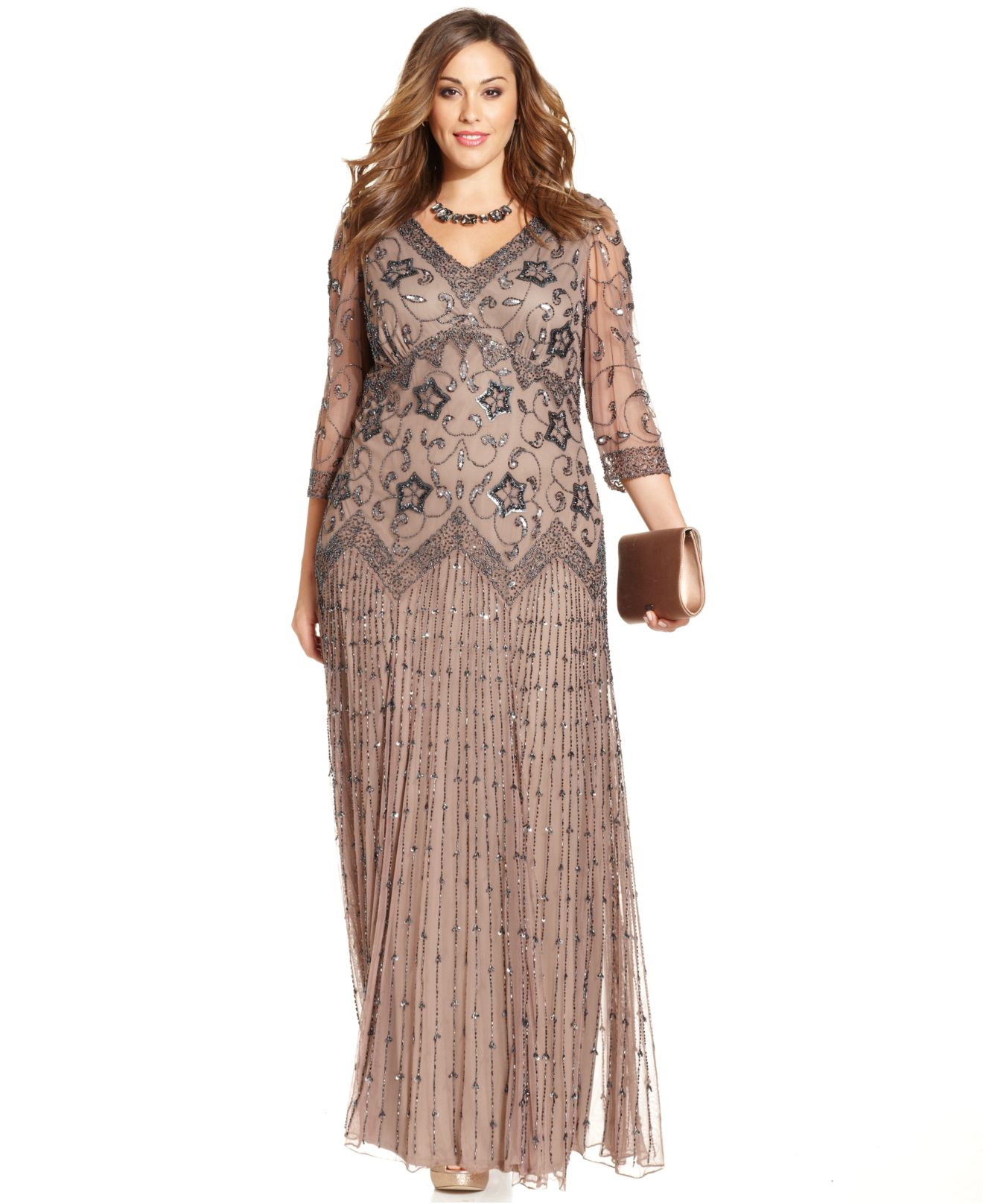 972101d81c0 Lyst - Pisarro Nights Plus Size Three-Quarter-Sleeve Beaded Gown in ...