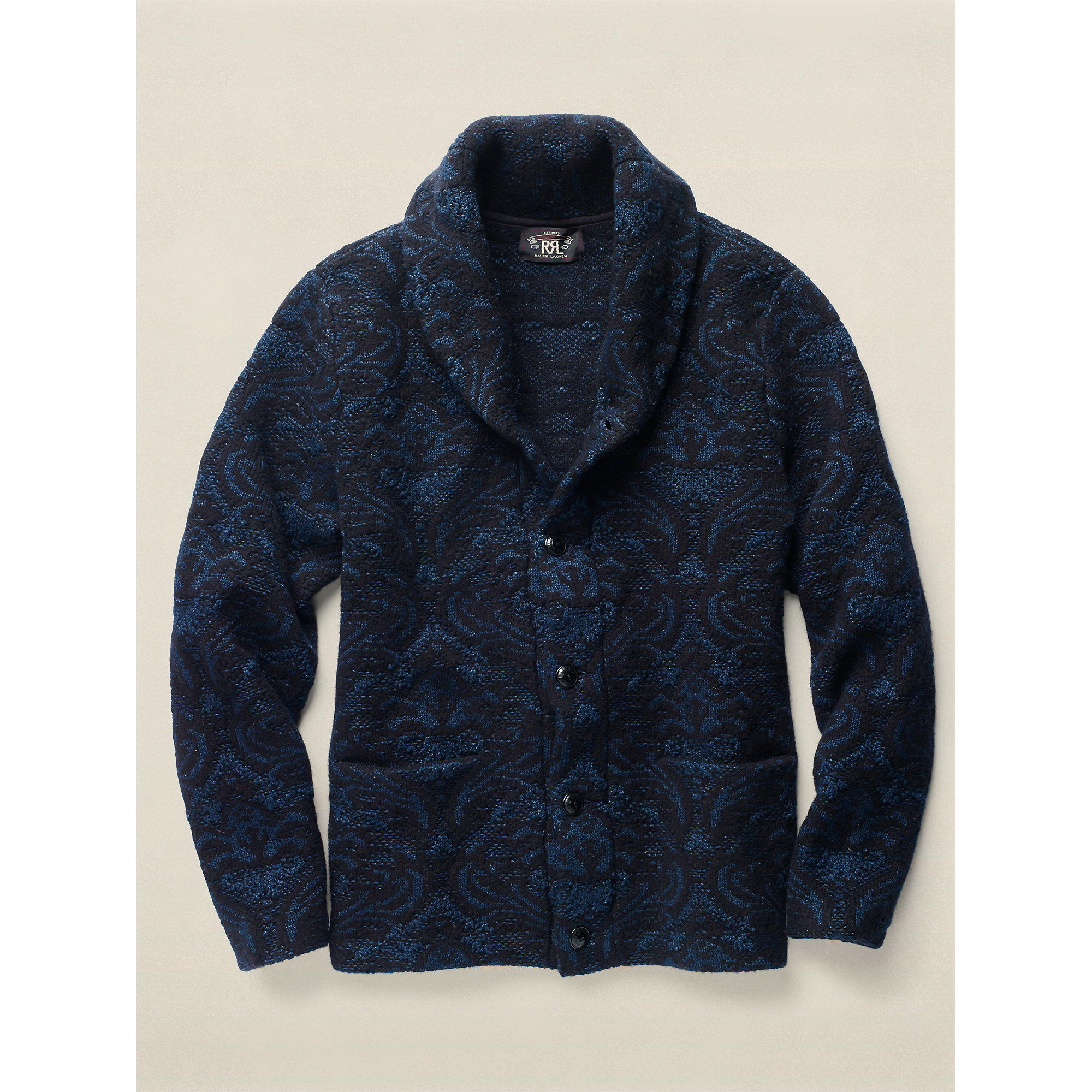 Rrl Jacquard Cotton-wool Cardigan in Blue for Men | Lyst