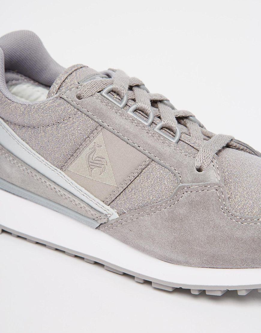 le coq sportif eclat silver metallic trainers in gray lyst