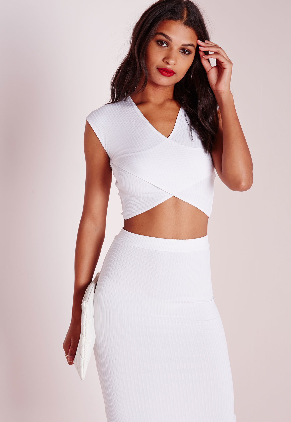 5427a3da8f668c Lyst - Missguided Ribbed Wrap Crop Top White in White