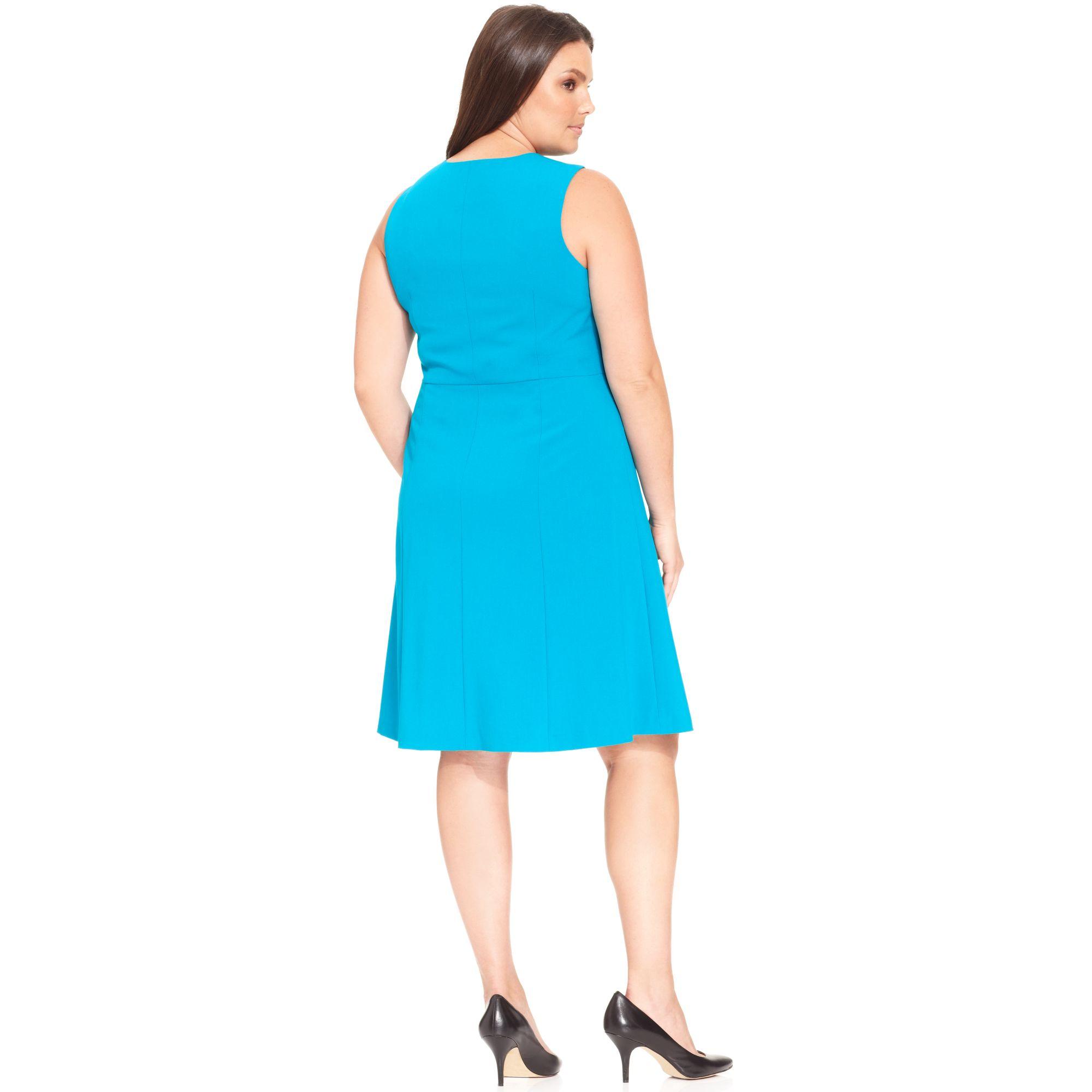 Lyst - Calvin Klein Plus Size Sleeveless Aline Dress in Blue