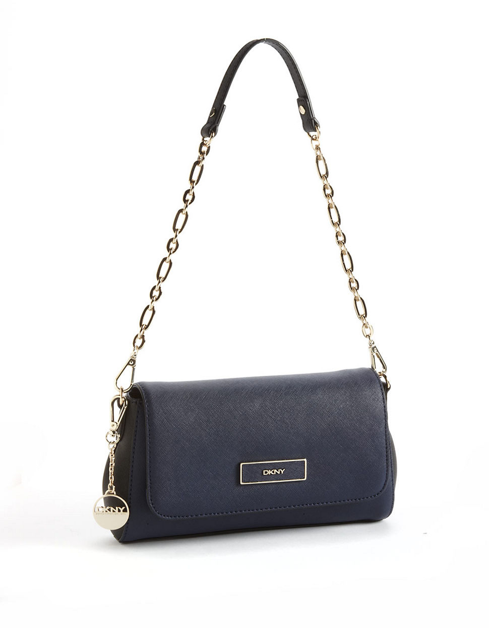 Dkny Leather Convertible Clutch Bag in Blue (NAVYBLACK)