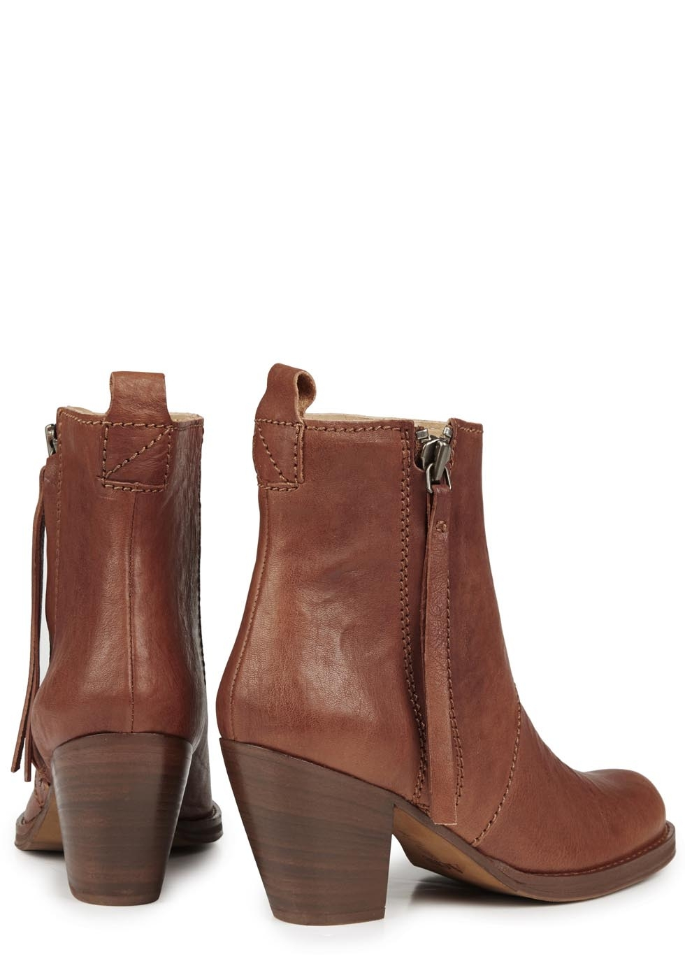 Acne studios Pistol Brown Leather Ankle Boots in Brown | Lyst