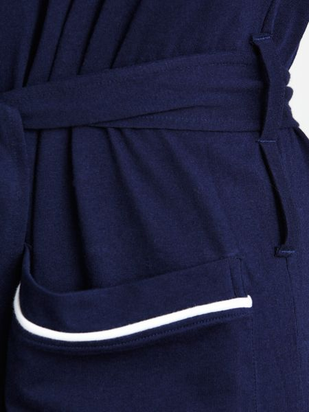 Snap Polo ralph lauren Cotton Jersey Piped Dressing Gown in Blue for ...