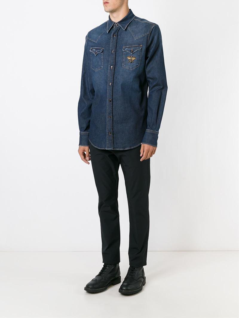 Dolce & gabbana Bee Denim Shirt in Blue for Men