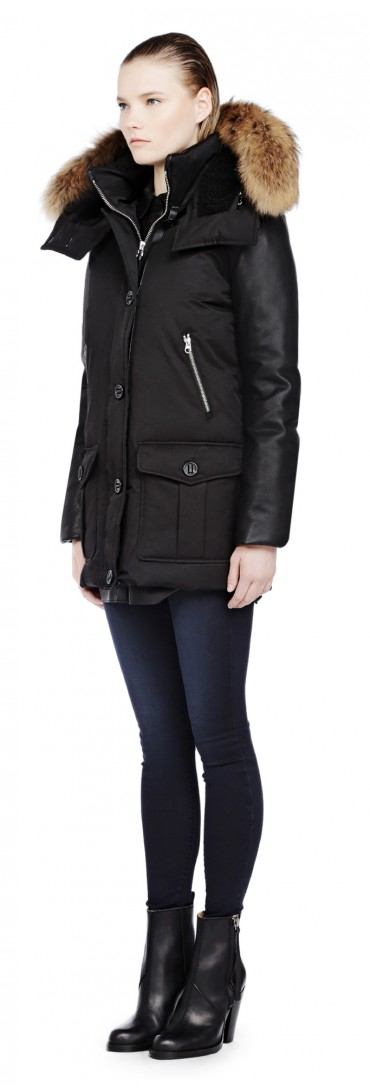 Mackage Cynthia Black Down Parka with Fur and Leather Sleeves in ...