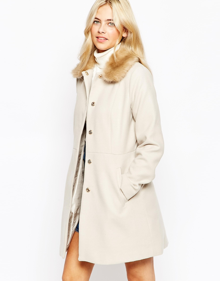 04cb11871e54 Oasis Faux Fur Collar Trimmed Coat in Natural - Lyst