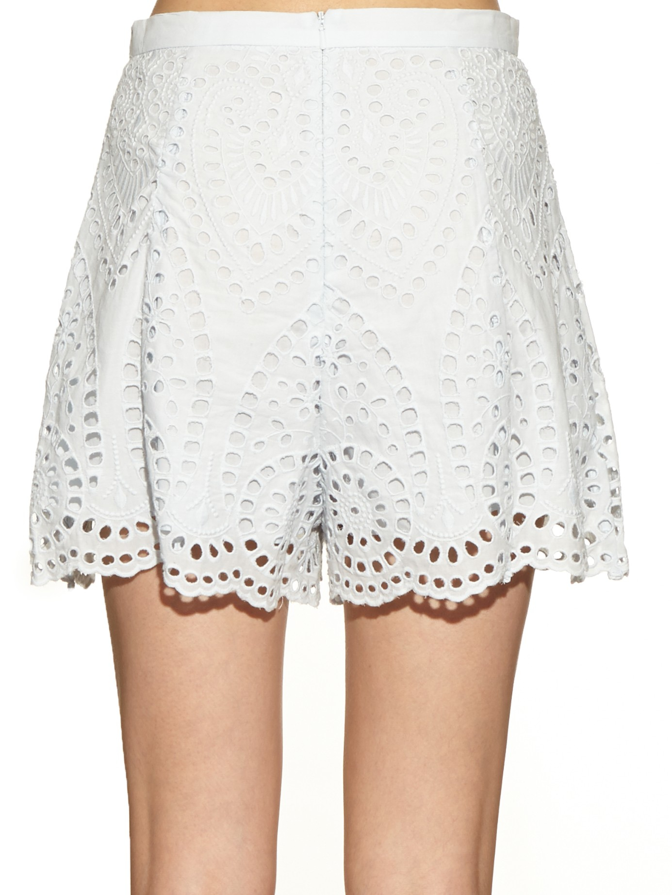 Lyst Zimmermann Epoque Broderie Anglaise Shorts In Blue