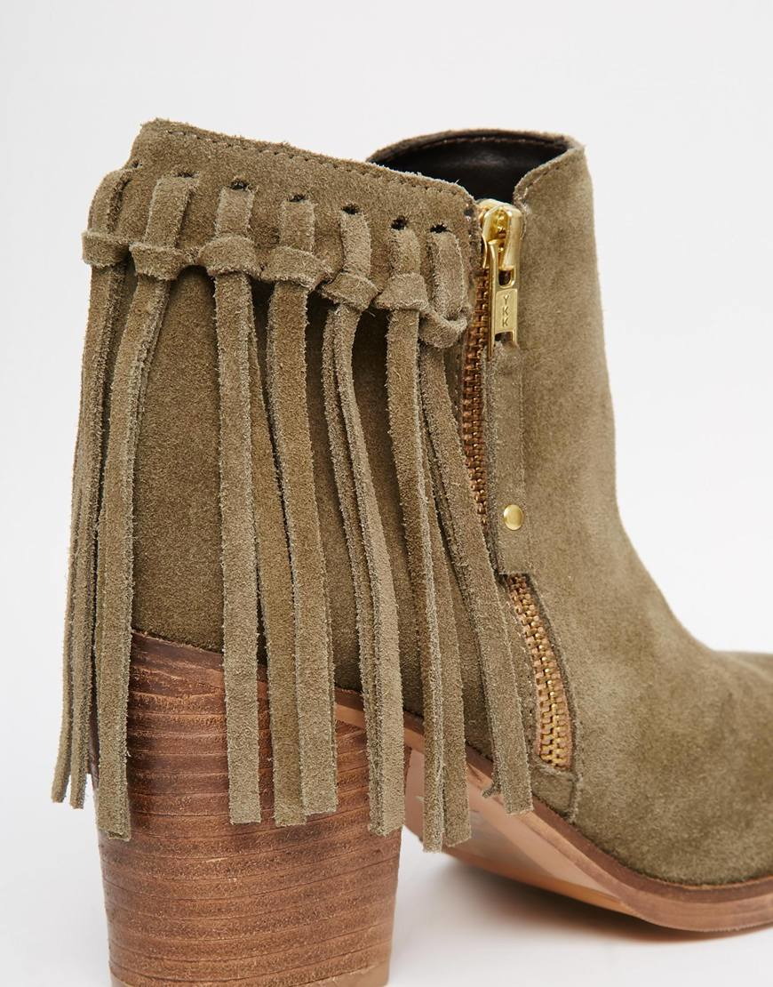 Asos Rhymes Suede Fringe Ankle Boots in Green   Lyst