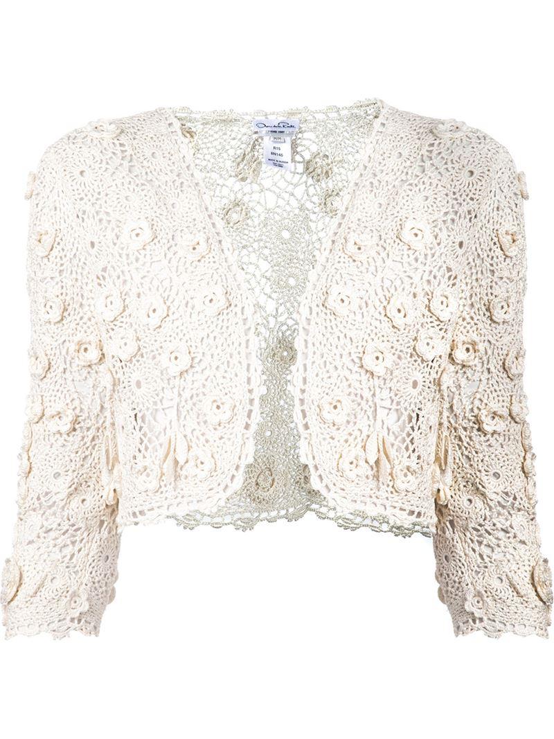 Oscar De La Renta Cropped Crochet Jacket In White Lyst