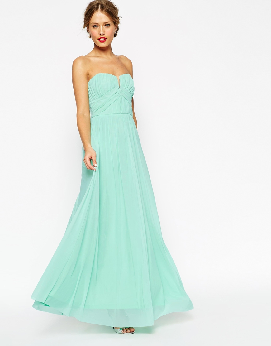 asos wedding ruched bodice bandeau maxi dress in green. Black Bedroom Furniture Sets. Home Design Ideas