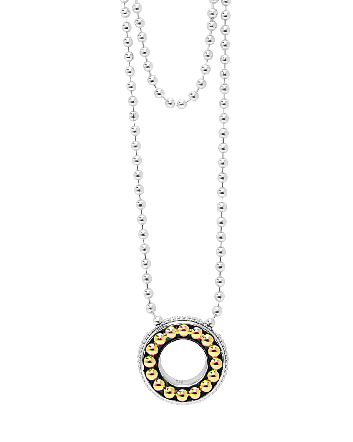 Lyst lagos sterling silver 18k enso slider pendant necklace in gallery mozeypictures Images
