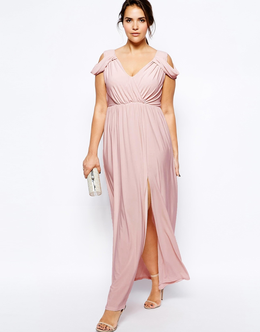 Asos Wrap Front Maxi Dress in Pink | Lyst
