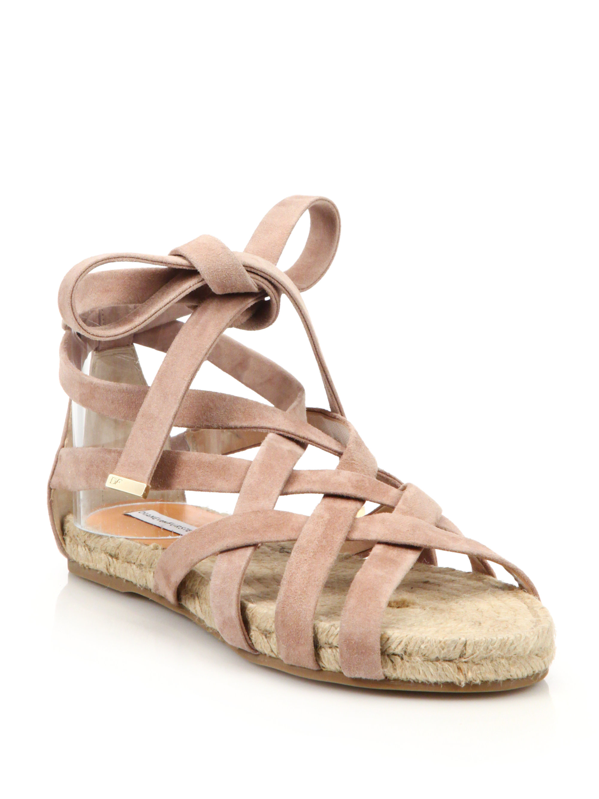 Diane von Furstenberg Metallic Lace-Up Flats with paypal cheap price free shipping pre order 2014 new for sale CbN4d