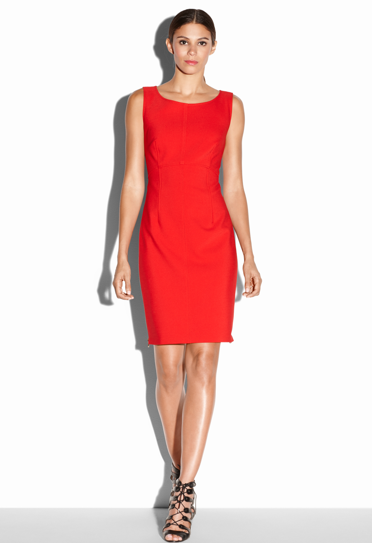 Milly Zip Sheath Dress in Red | Lyst