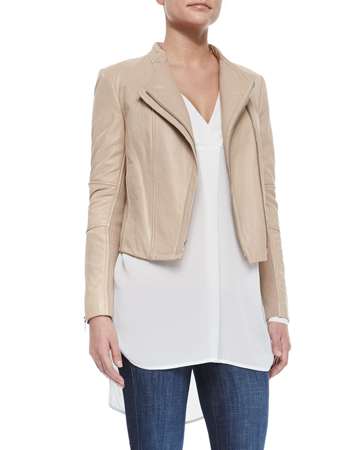 Vince Leather/knit Fitted Jacket in Natural Lyst