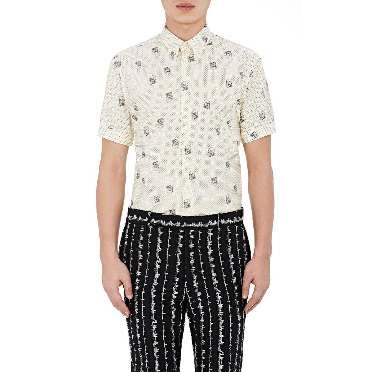 Alexander mcqueen men 39 s button down shirt in white for men for Alexander mcqueen shirt men
