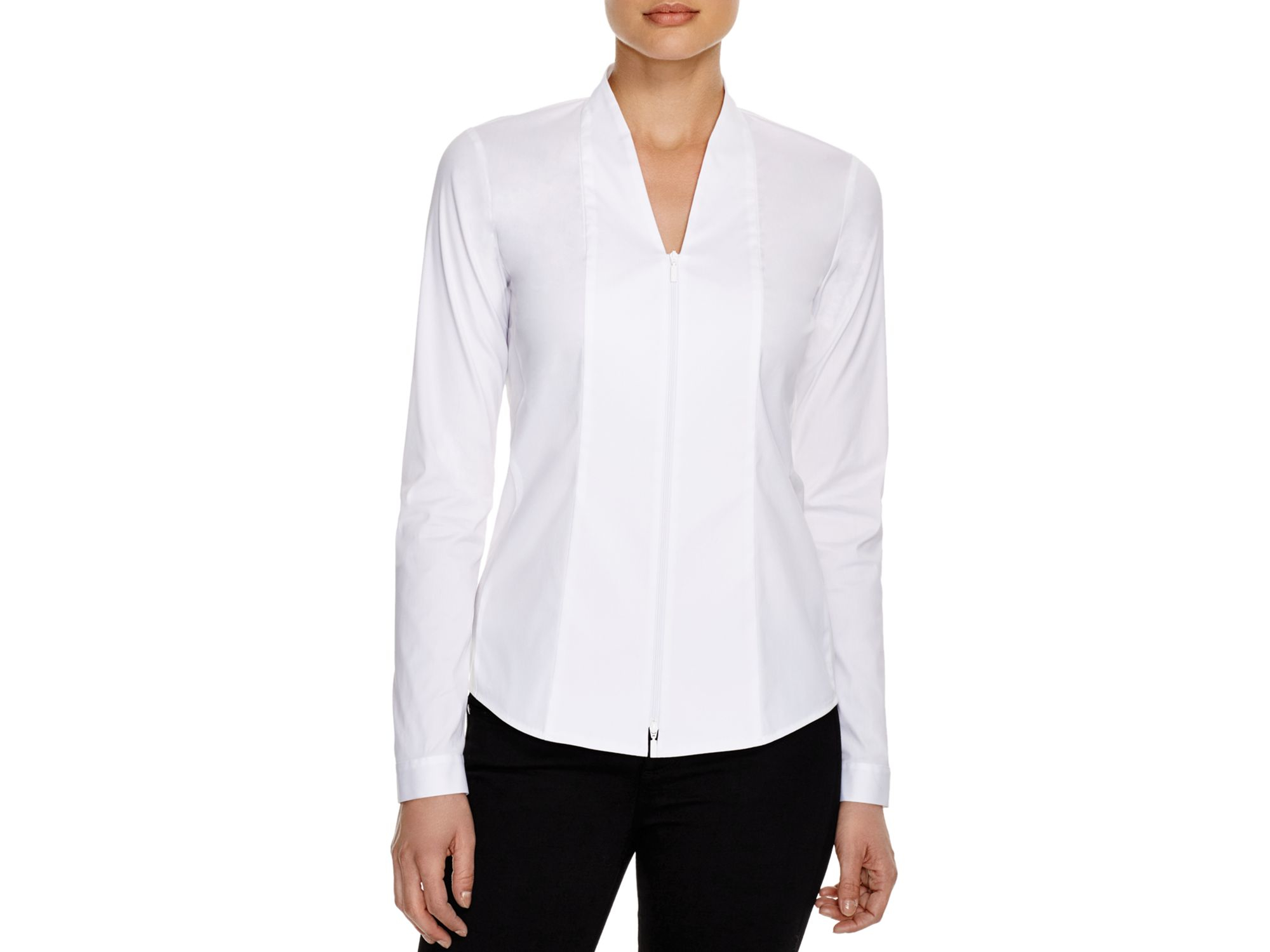 Zip Front Blouse White 119