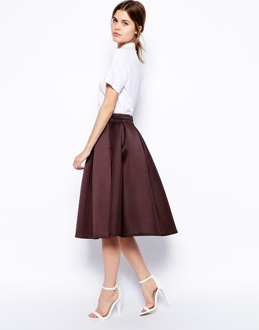 asos premium prom midi skirt in bonded satin in purple lyst