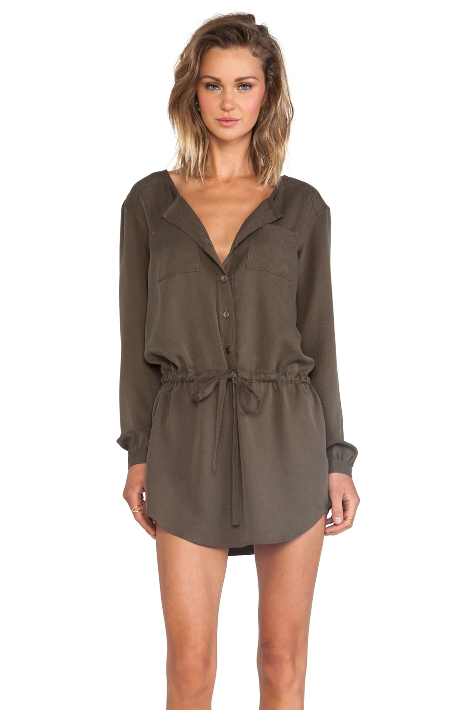 michael stars button down shirt dress in green lyst