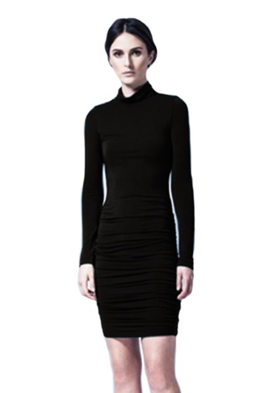 Krisa krisa long sleeve turtleneck dress in black lyst for Long sleeve black turtleneck shirt