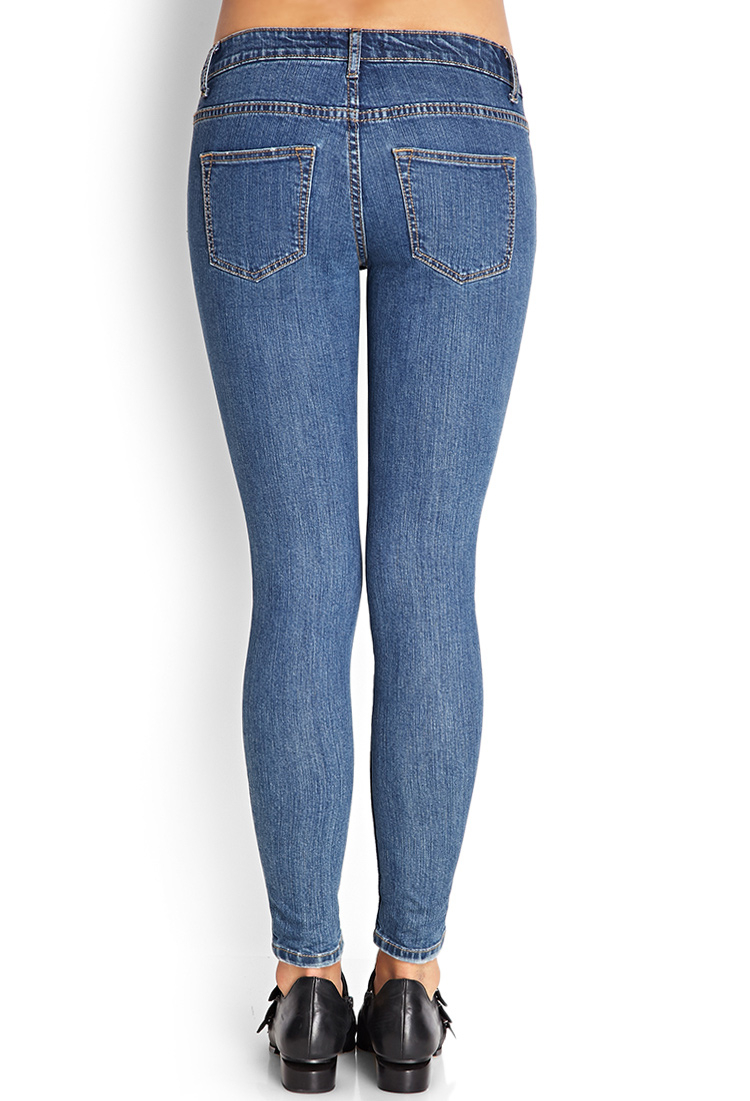 Forever 21 Distressed Denim Skinny Jeans in Blue | Lyst