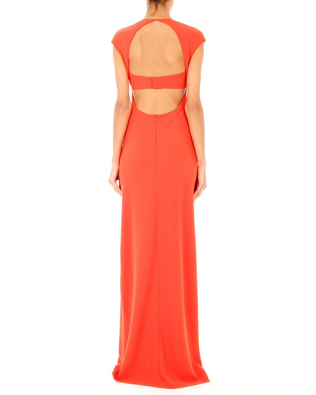 T by alexander wang Open-back Maxi Dress in Orange | Lyst