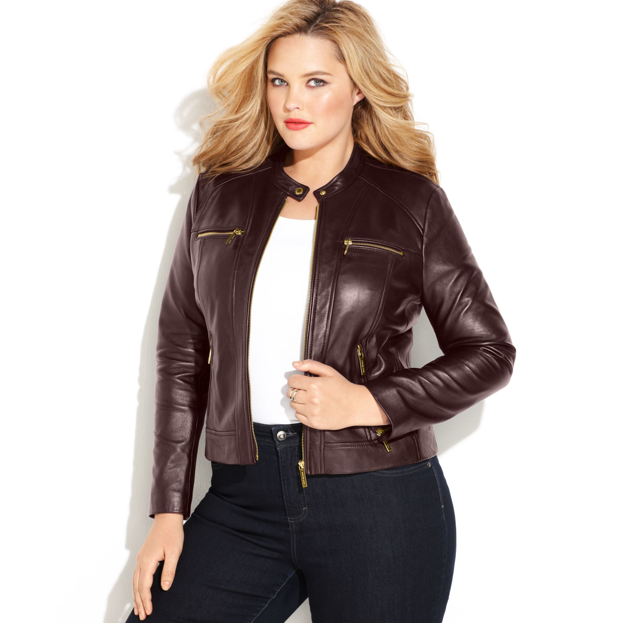 Michael kors Michael Plus Size Seamed Zipfront Leather Jacket in ...