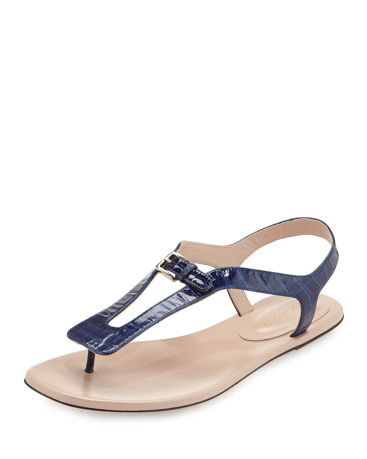 Lyst - Sergio Rossi Embossed Leather Slingback Sandal in Blue