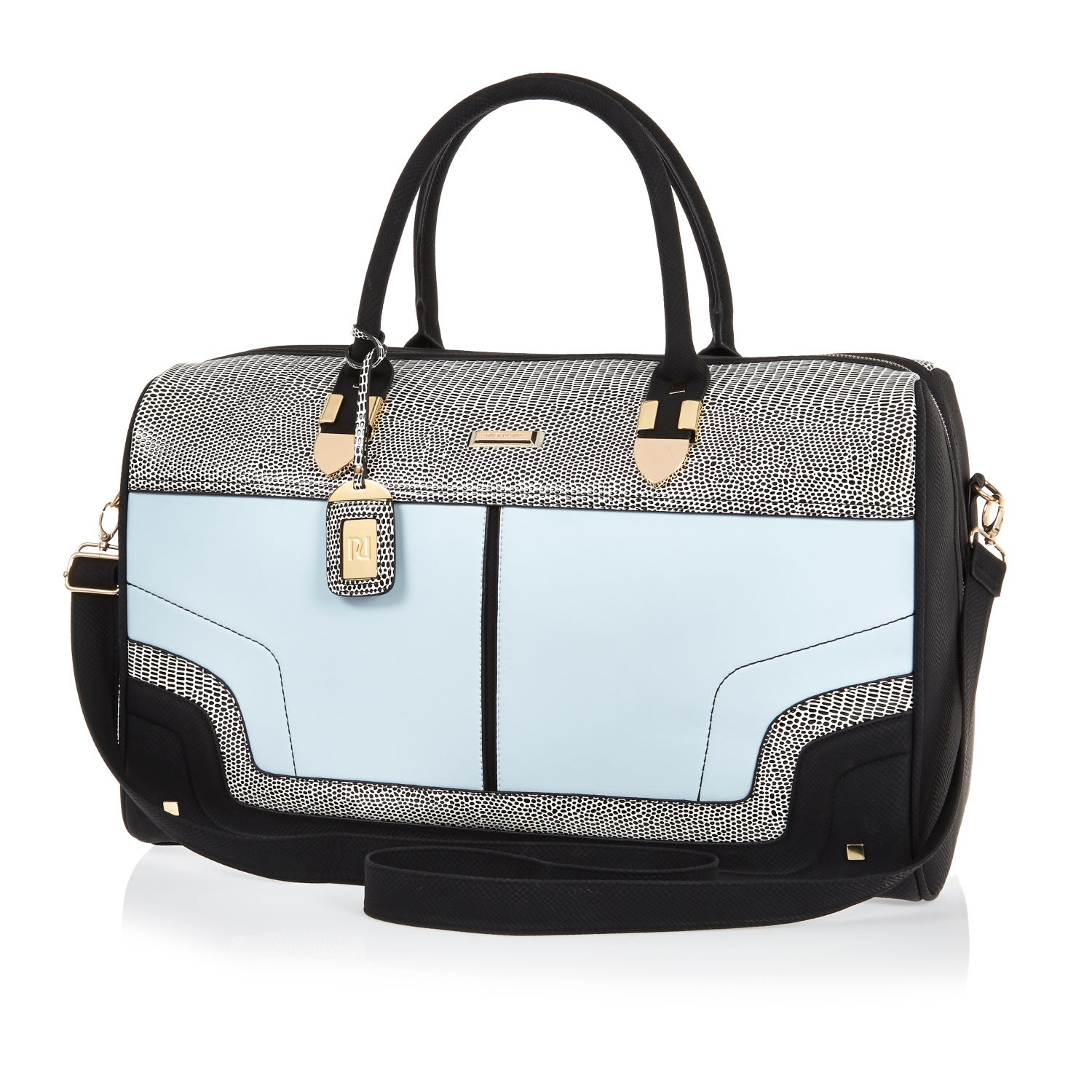 River island Blue Split Colour Weekend Bag in Blue | Lyst