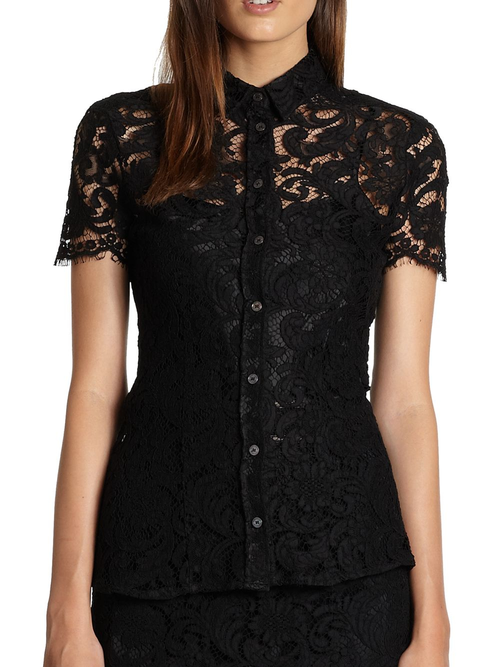 Lyst Burberry Lace Blouse In Black