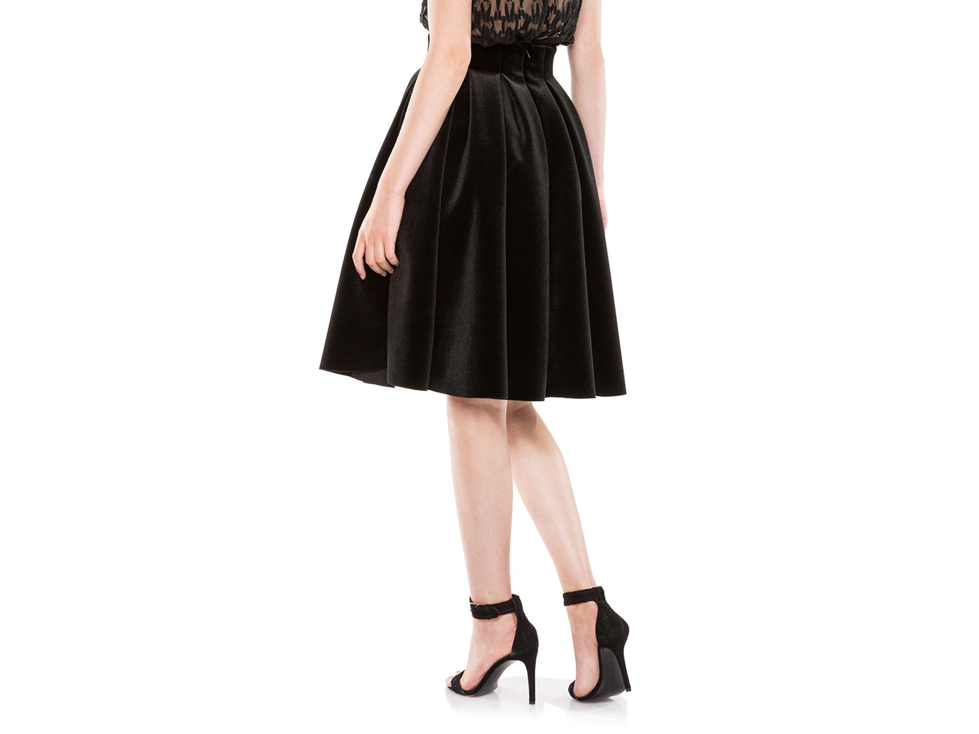 16f2450a2e Maje Janice Velvet Pleated Skirt in Black - Lyst