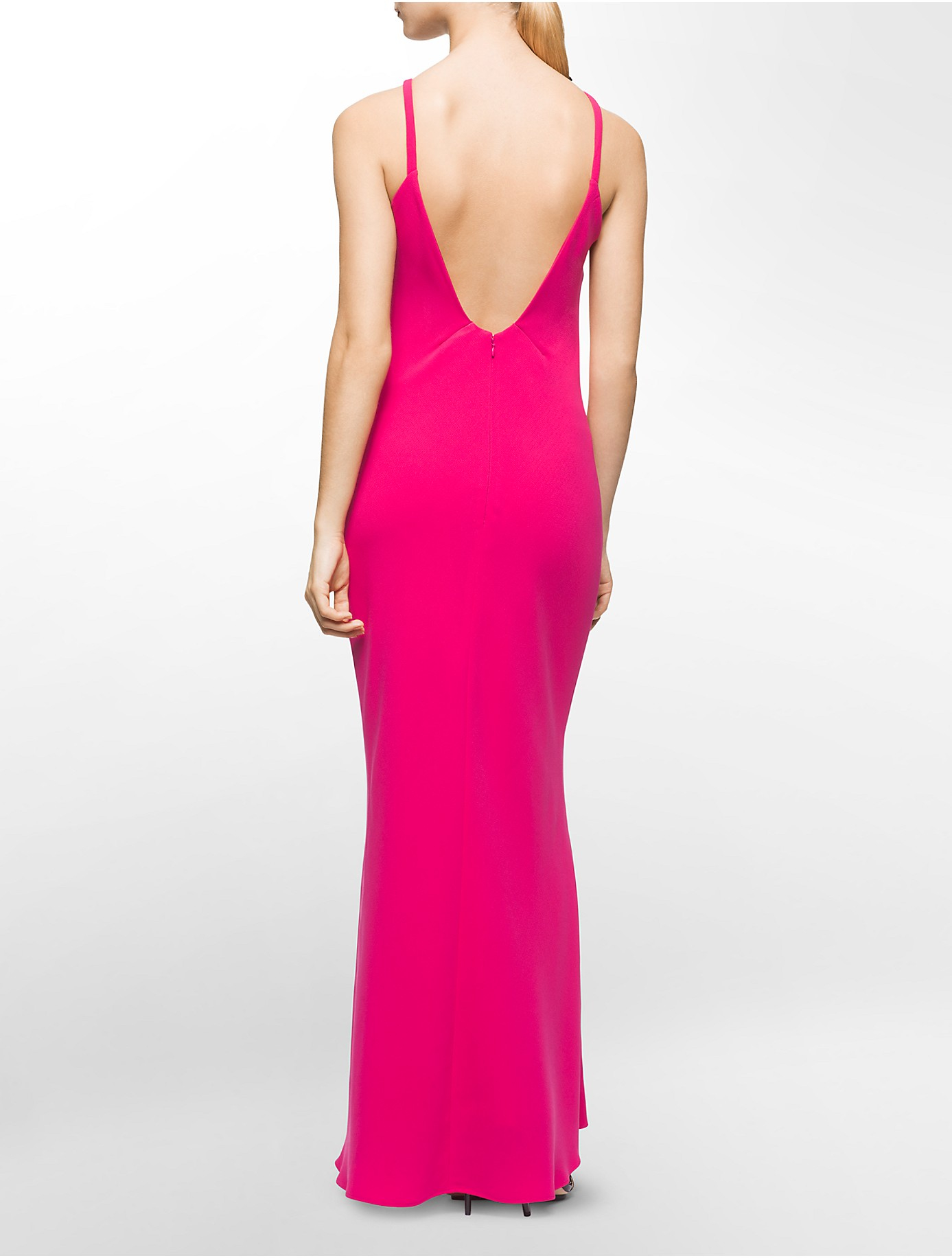 Calvin klein White Label Halter Neck Low Back Gown in Pink | Lyst