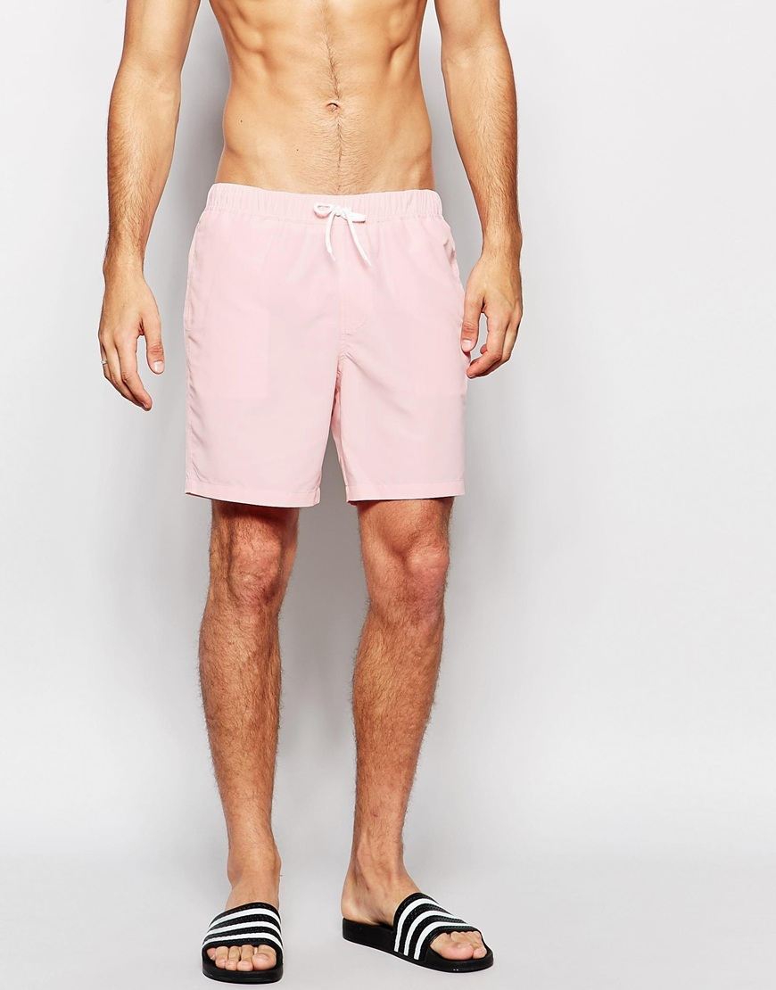 Asos Swim Shorts In Light Pink Mid Length in Pink for Men | Lyst