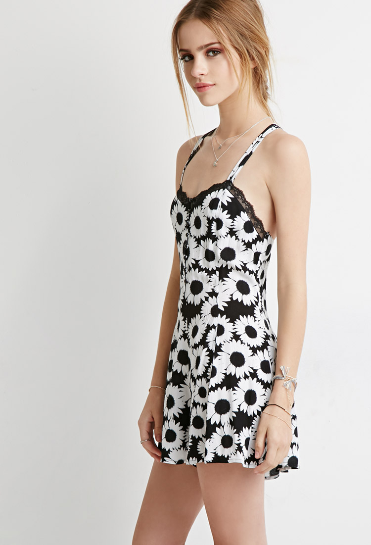 Lyst Forever 21 Strappy Daisy Print Romper