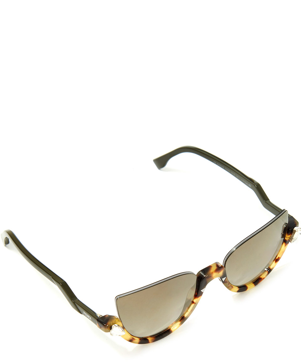 933dc8e65f Fendi Brown Half Frame Sunglasses in Brown - Lyst