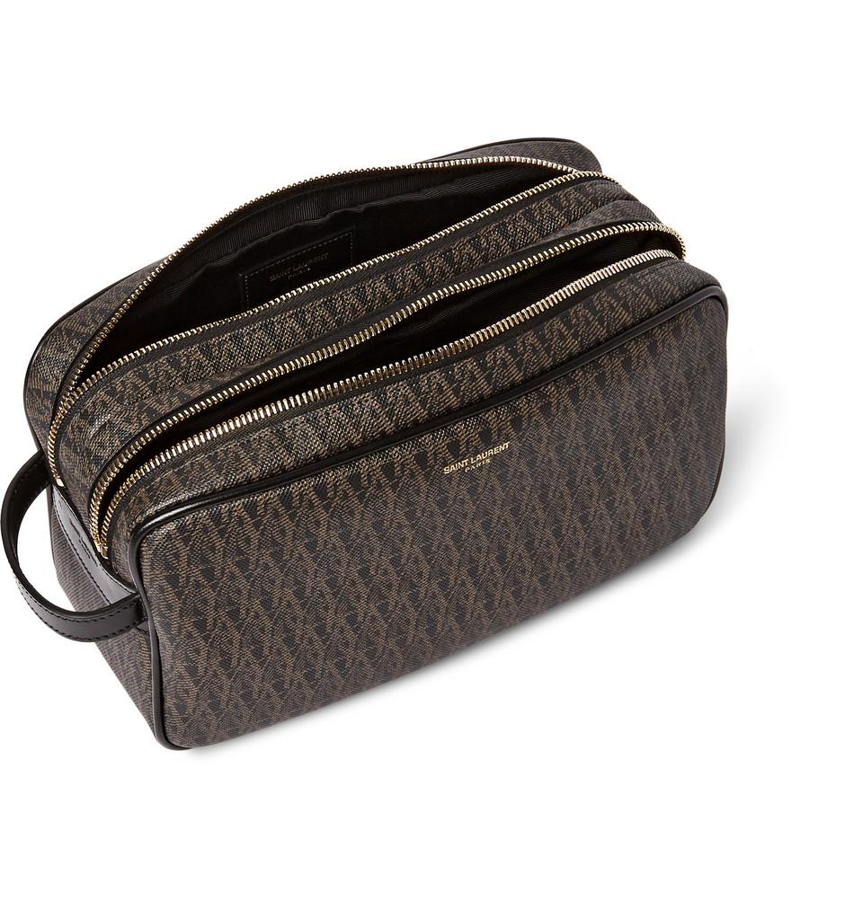 7e8d8fc501e Saint Laurent Toile Monogramme Leather-Trimmed Coated-Canvas Wash ...