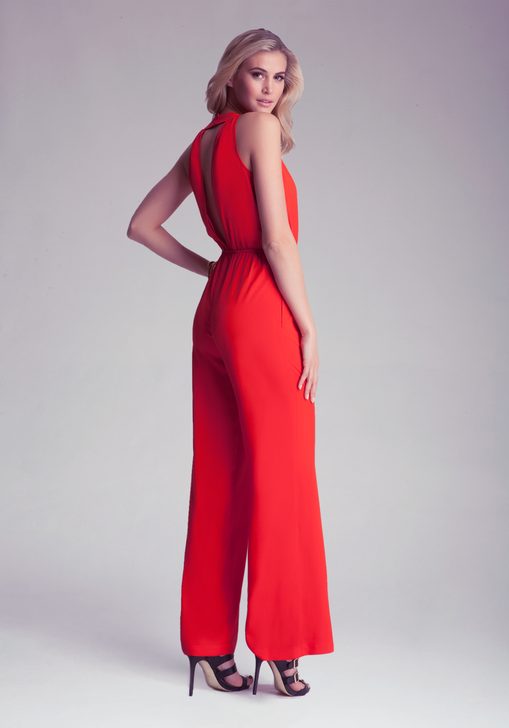 Bebe Solid Open Back Jumpsuit in Red | Lyst